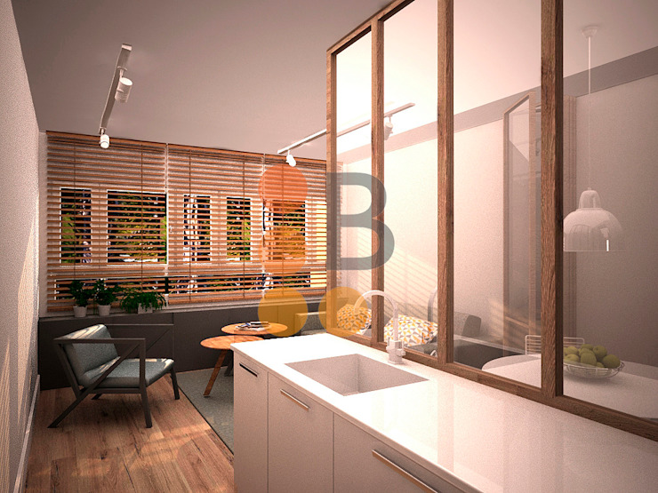Renders. 3D. Kitchen. Living room. de Brick Serveis d'Interiorisme S.L.