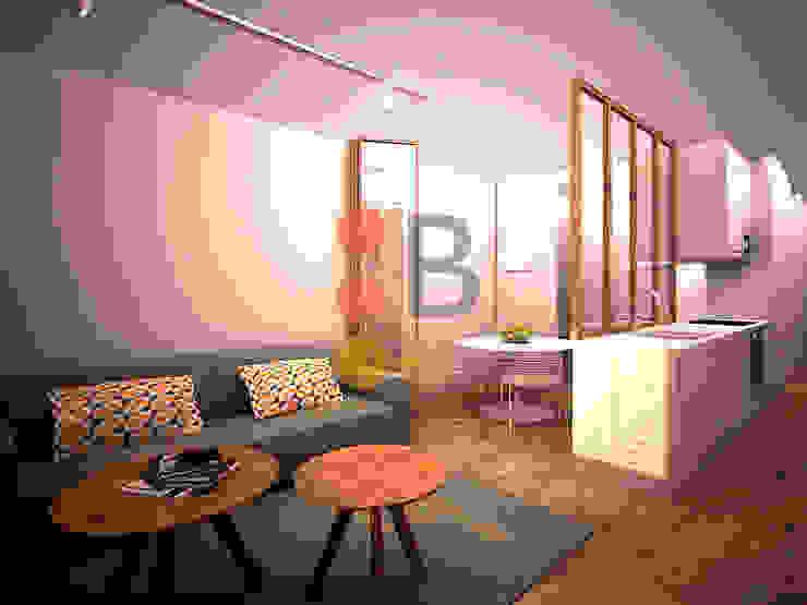 Renders. 3D. Living room. de Brick Serveis d'Interiorisme S.L.