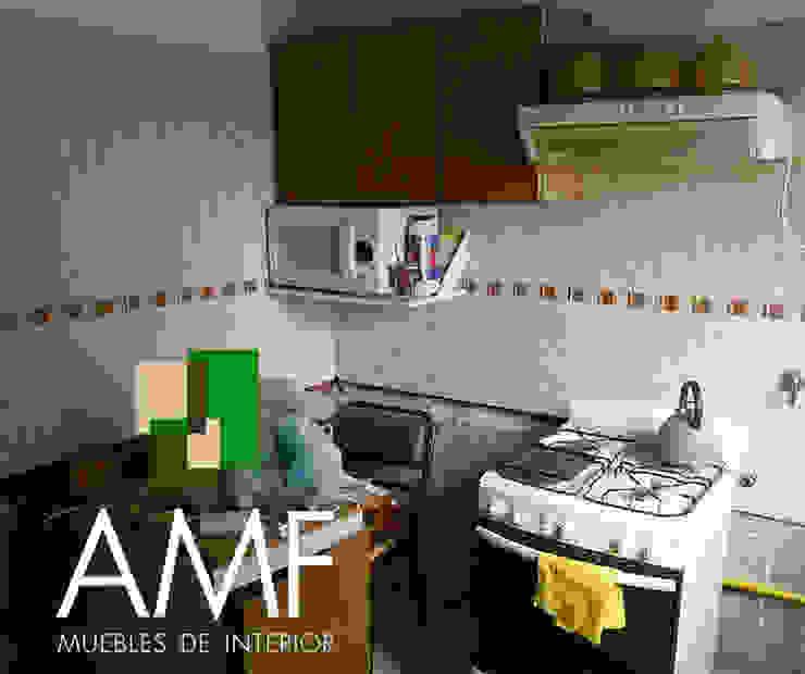 Antes y después COCINA de amf muebles Moderno