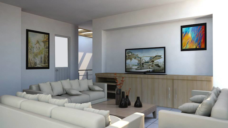 现代客厅設計點子、靈感 & 圖片 根據 visioncreativaarquitectos 現代風