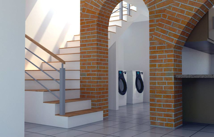 現代風玄關、走廊與階梯 根據 visioncreativaarquitectos 現代風
