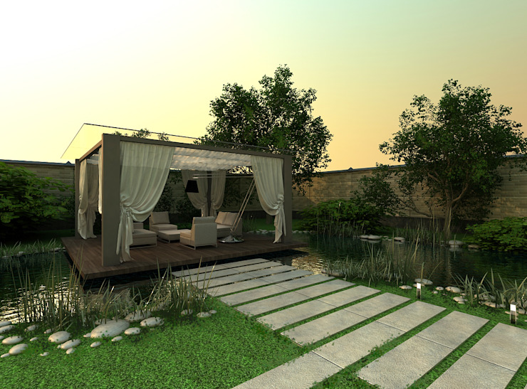 A-partmentdesign studio의  정원, 미니멀 엔지니어드 우드 투명