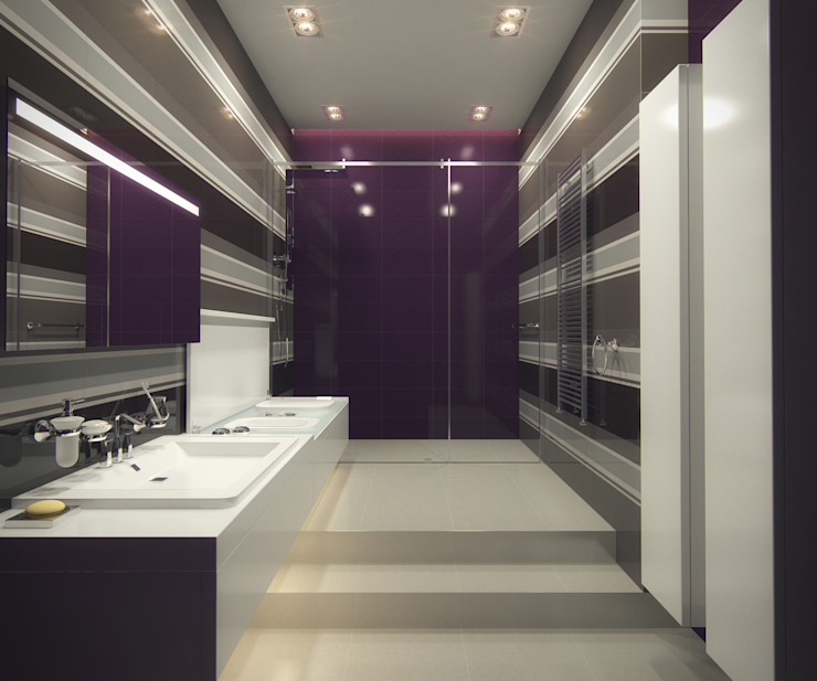 A-partmentdesign studio Minimalist bathroom Ceramic Purple/Violet