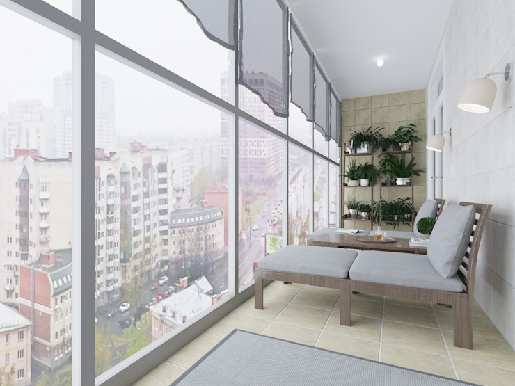 OK Interior Design minimalist style balcony, porch & terrace