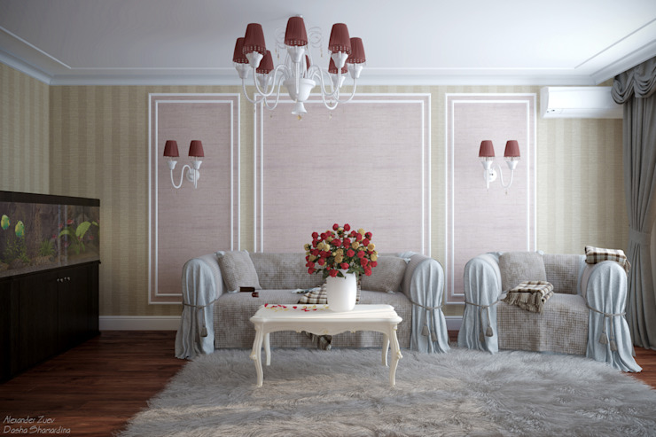 Дизайн гостиной в классическом стиле в ЖК по ул. Димитрова Гостиная в классическом стиле от Студия интерьерного дизайна happy.design Классический