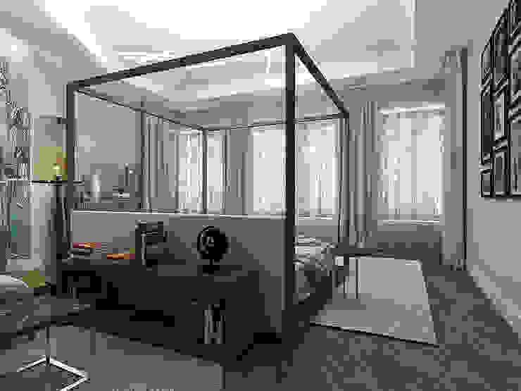 Minimalistische Schlafzimmer von A-partmentdesign studio Minimalistisch Holzwerkstoff Transparent