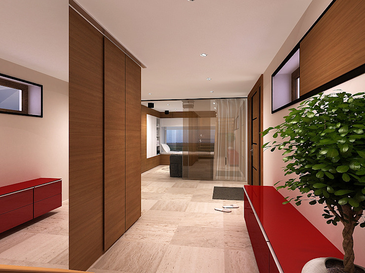 Ingresso, Corridoio & Scale in stile minimalista di A-partmentdesign studio Minimalista Piastrelle