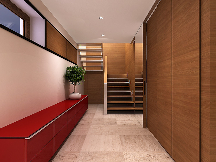 Minimalist corridor, hallway & stairs by A-partmentdesign studio Minimalist Wood Wood effect