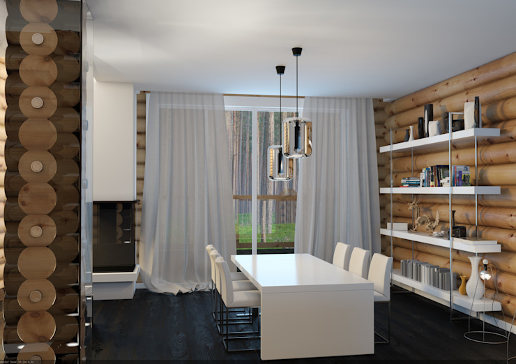 Scandinavian style dining room by A-partmentdesign studio Scandinavian Engineered Wood Transparent