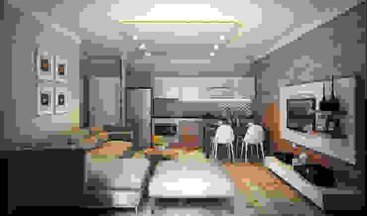 MİNERVA MİMARLIK – Salon ve açık mutfak:  tarz Oturma Odası,