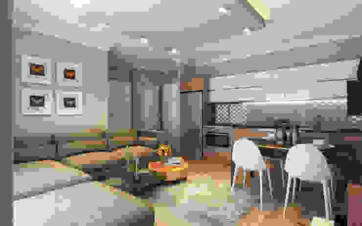 MİNERVA MİMARLIK – Salon ve açık mutfak: modern tarz , Modern Ahşap Ahşap rengi