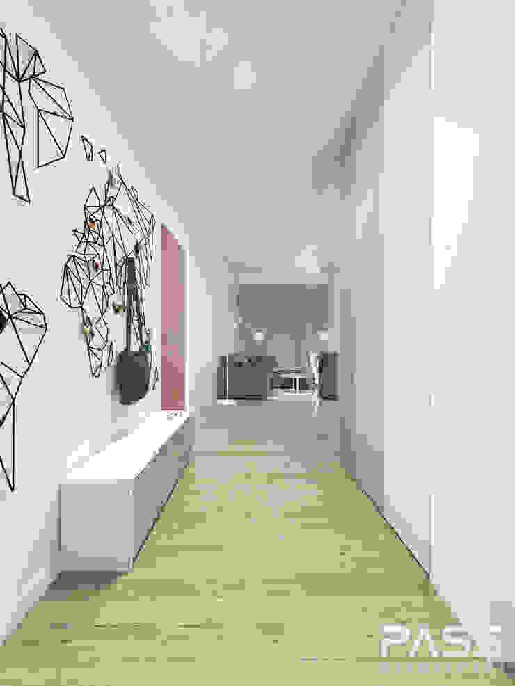PROJEKT WNĘTRZA W WARSZAWIE / 2 Skandynawski korytarz, przedpokój i schody od PASS architekci Skandynawski
