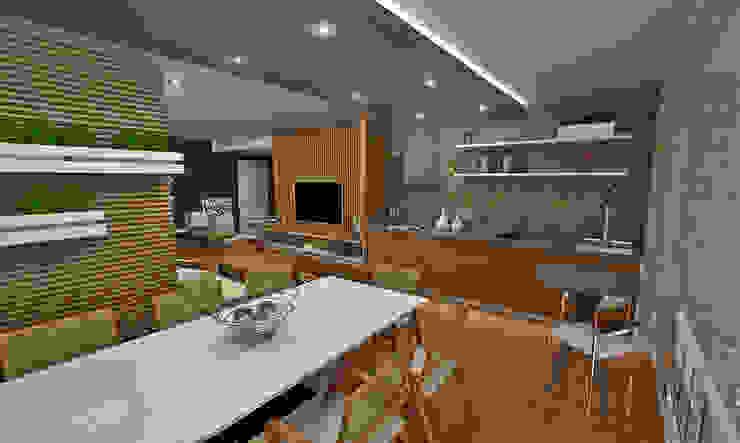 Terraço Gourmet Varandas, marquises e terraços ecléticos por Atelier Par Deux Eclético Cerâmica