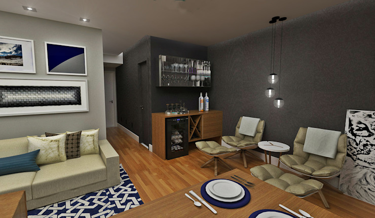 Sala de estar Salas de estar ecléticas por Atelier Par Deux Eclético Madeira Acabamento em madeira