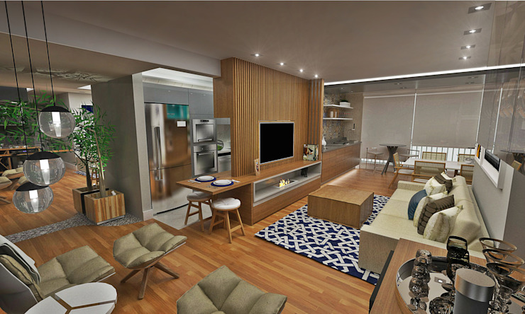 Sala integrada Salas de estar ecléticas por Atelier Par Deux Eclético Madeira Acabamento em madeira