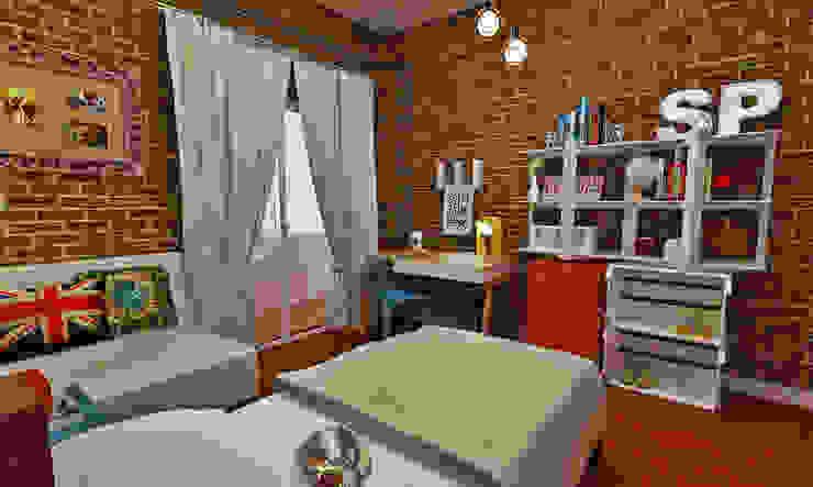 Atelier Par Deux Dormitorios de estilo industrial Ladrillos Multicolor