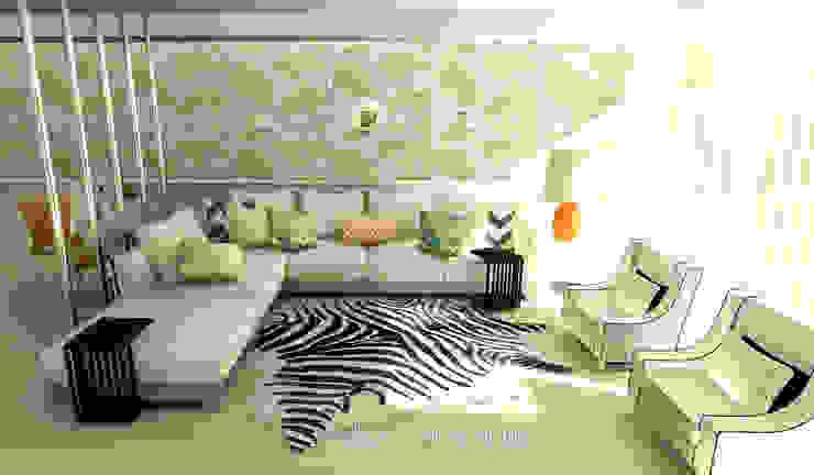 Projecto 3D Decoração Sala homify Salas de estar modernas