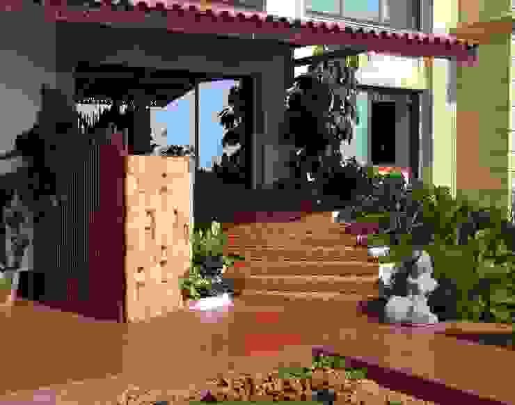 Brick steps to Terrace Garden Mediterranean style garden by The White Room Mediterranean