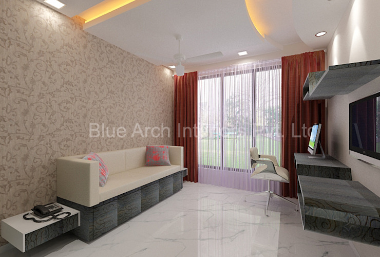 Subramanium Residence (Mulund):  Bedroom by Bluearch Architects & Interiors,