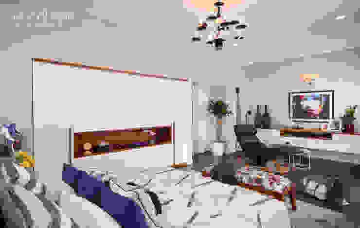 Bedroom with inbuilt master wardrobe: scandinavian  by Savio and Rupa Interior Concepts ,Scandinavian