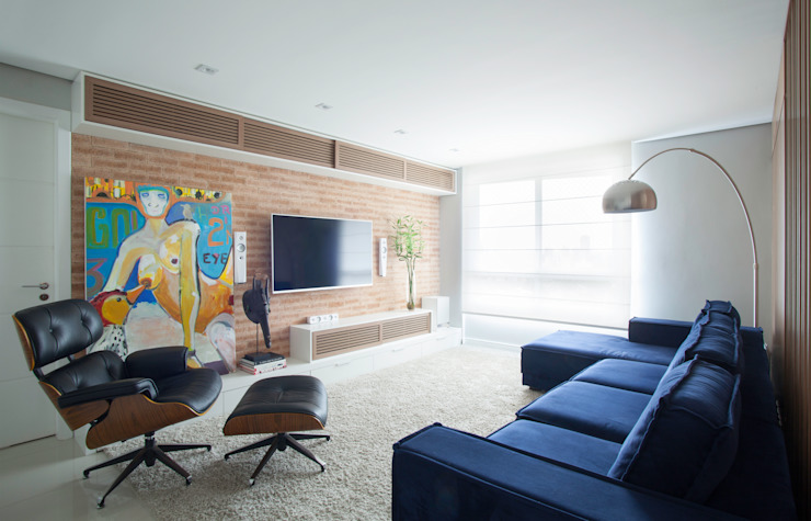 Johnny Thomsen Arquitetura e Design Media room Bricks Multicolored