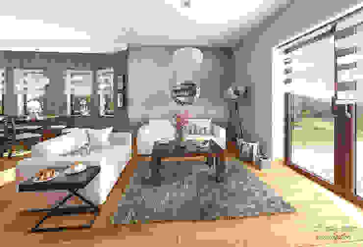 Salon klasyczny z kuchnią / CLASSIC LIVING ROOM with KITCHEN Klasyczny salon od D2 Studio Klasyczny Drewno O efekcie drewna