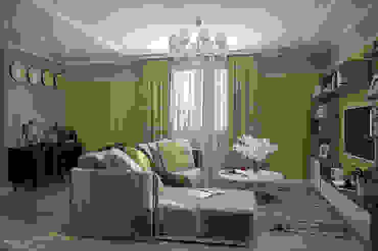 """Дизайн 1-го этажа частного дома в коттеджном поселке """"Бавария"""" Гостиные в эклектичном стиле от Студия интерьерного дизайна happy.design Эклектичный"""