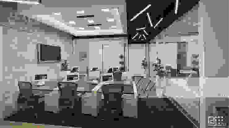 Area de Trabajo Principal Oficinas de estilo minimalista de Arq.AngelMedina+ Minimalista Vidrio