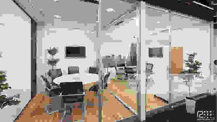 Oficina Principal Y Sala De Reuniones Oficinas de estilo minimalista de Arq.AngelMedina+ Minimalista Vidrio