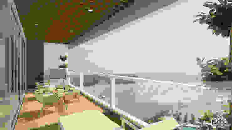 TERRAZA COMÚN Arq.AngelMedina+ Balcones y terrazas de estilo minimalista Madera Blanco