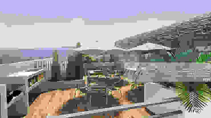 TERRAZA Balcones y terrazas de estilo minimalista de Arq.AngelMedina+ Minimalista Madera Acabado en madera