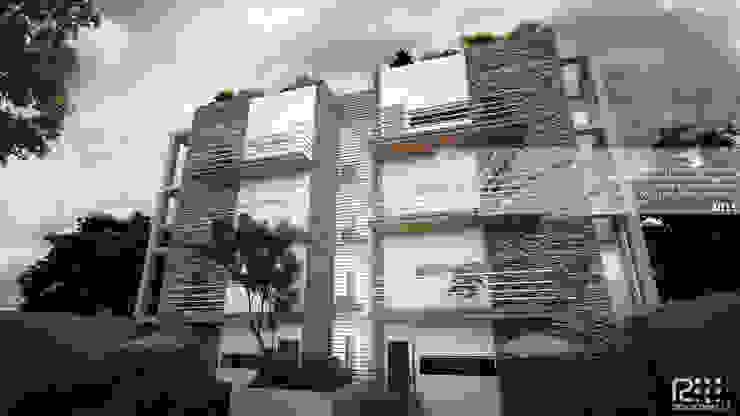 FACAHADA PORTERIOR Casas de estilo minimalista de Arq.AngelMedina+ Minimalista Piedra