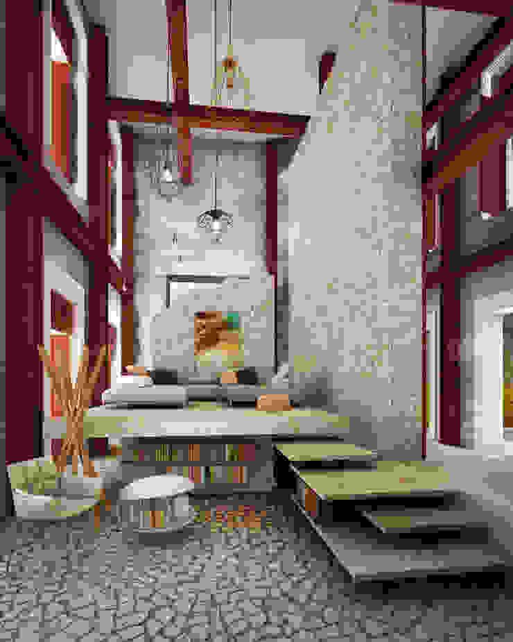 A HOUSE FOR... Salones rústicos rústicos de mousa / Inspiración Arquitectónica Rústico