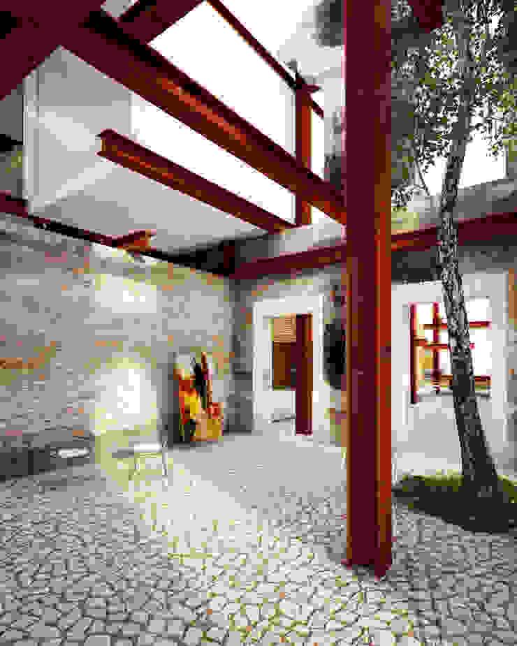 A HOUSE FOR... Pasillos, vestíbulos y escaleras rústicos de mousa / Inspiración Arquitectónica Rústico