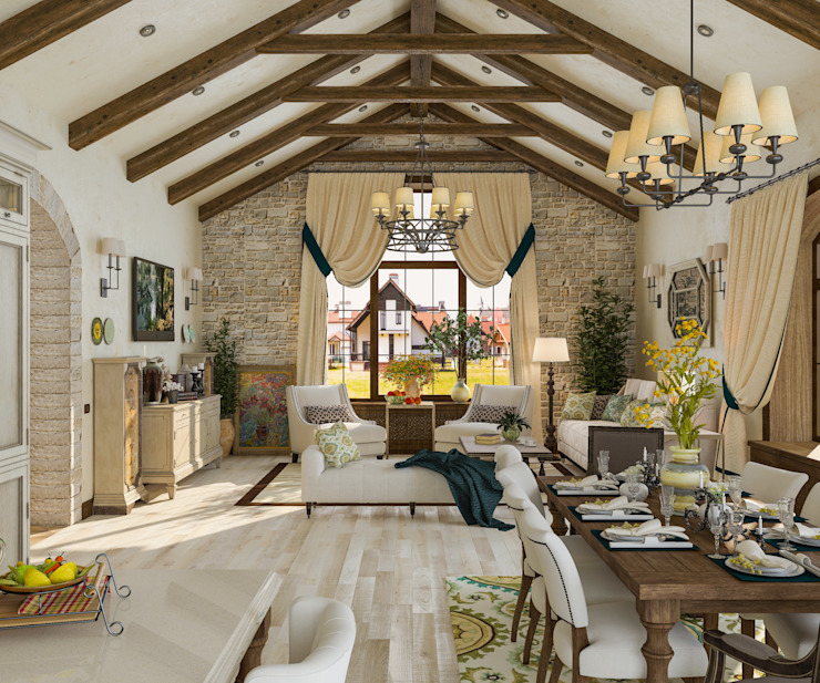 Living room by Студия дизайна Дарьи Одарюк, Mediterranean