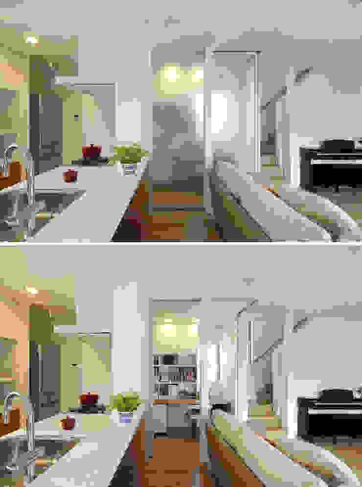 ポリカーボで仕切るスタディコーナー シーズ・アーキスタディオ建築設計室 モダンデザインの 多目的室