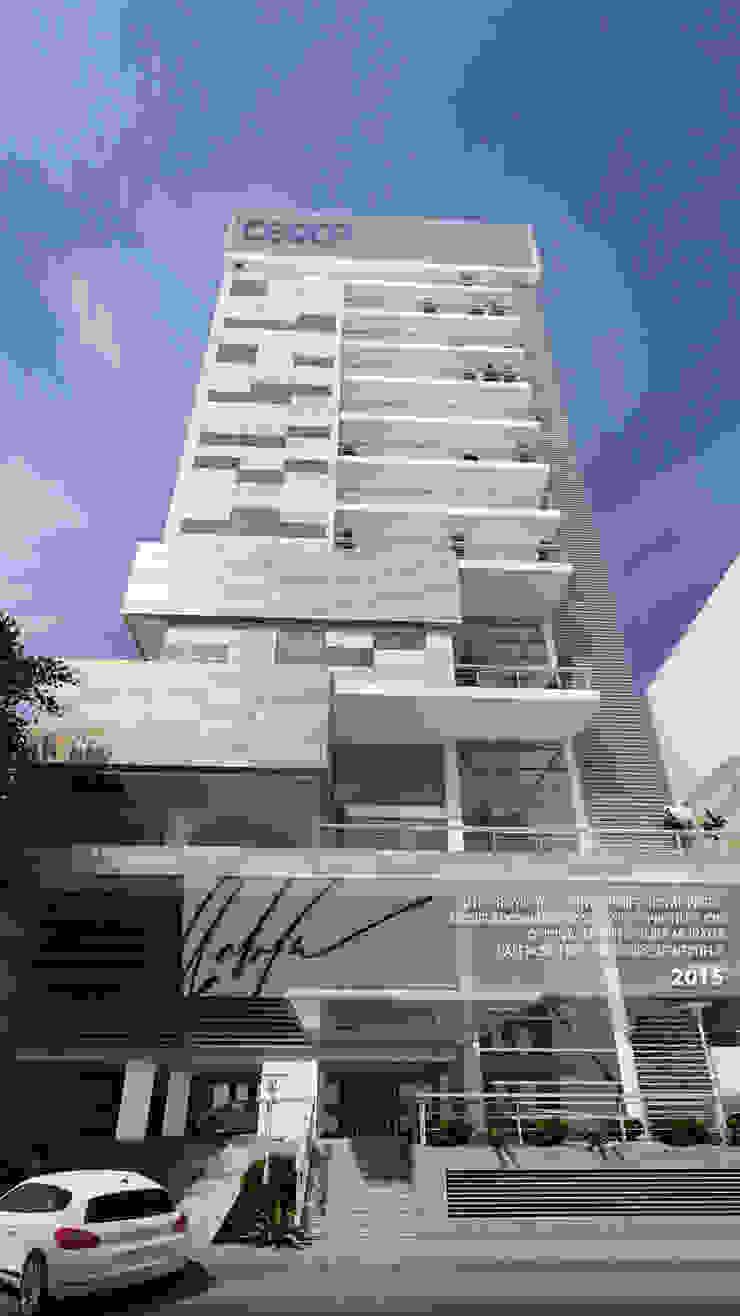 FACHADA PRINCIPAL Balcones y terrazas de estilo minimalista de Arq.AngelMedina+ Minimalista Metal