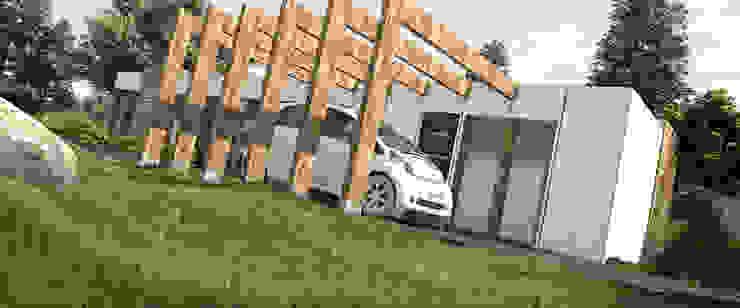 GARAGE Y ENTRADA PRINCIPAL Garajes de estilo minimalista de Arq.AngelMedina+ Minimalista Concreto