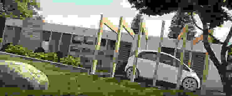 GARAGE Y ENTRADA PRINCIPAL/AREA DE AMPLIACION Y PLANTACION Casas de estilo minimalista de Arq.AngelMedina+ Minimalista Concreto