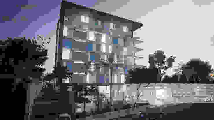Fachada principal Casas de estilo minimalista de Arq.AngelMedina+ Minimalista Vidrio