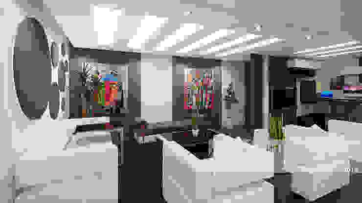 Sala principal y sala de TV Salas de estilo minimalista de Arq.AngelMedina+ Minimalista Madera Acabado en madera