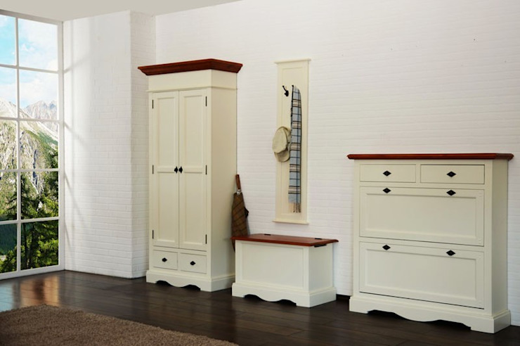 Dielen-set 4-teilig Gotland weiss Pinie massiv Flur Moebel Garderoben Schrank von Moebelkultura.DE Landhaus Holz Holznachbildung
