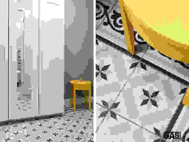 Projekt mieszkania na wynajem w Zielonej Górze Skandynawski korytarz, przedpokój i schody od SAS Skandynawski