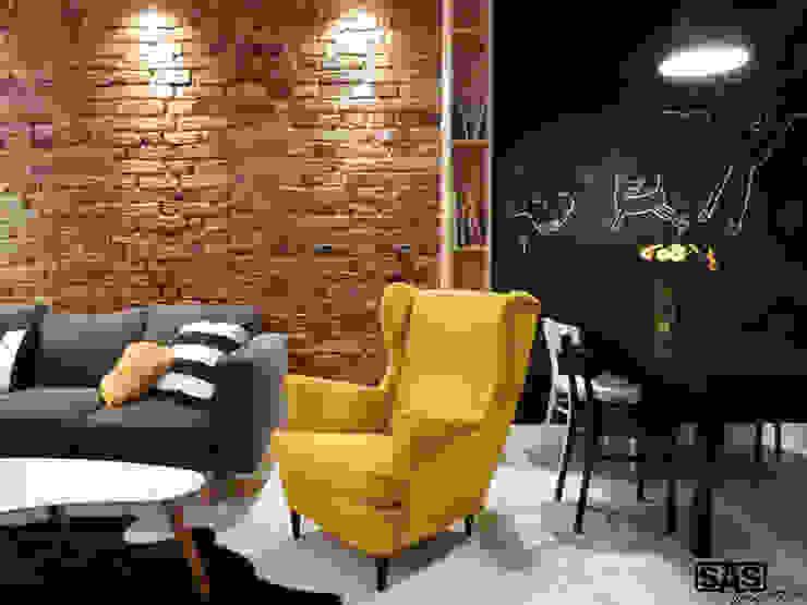 Projekt mieszkania na wynajem w Zielonej Górze Skandynawski salon od SAS Skandynawski