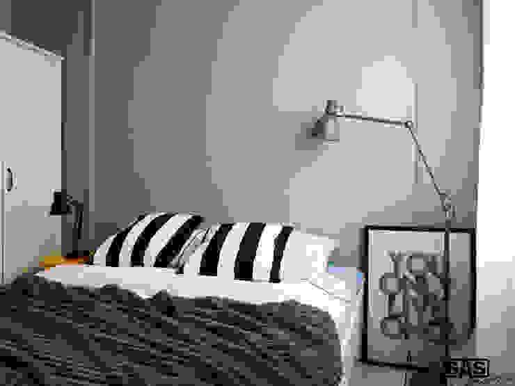 Projekt mieszkania na wynajem w Zielonej Górze Skandynawska sypialnia od SAS Skandynawski