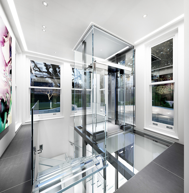House in Notting Hill by Recent Spaces Modern corridor, hallway & stairs by Recent Spaces Modern Glass