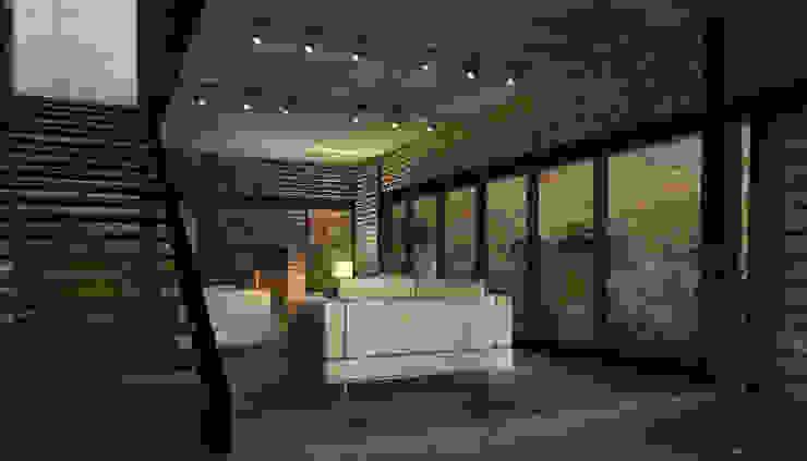 Brick House Salones mediterráneos de ZUM ARQUITECTURA Mediterráneo