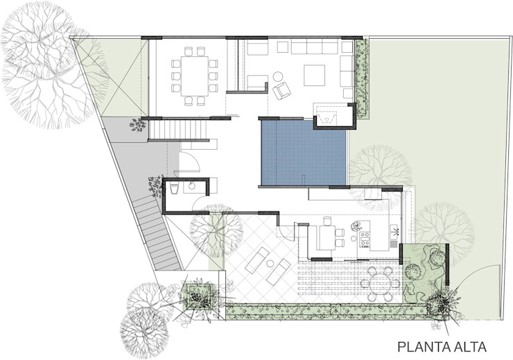 PLANTA ALTA Casas modernas de 75 Arquitectura Moderno