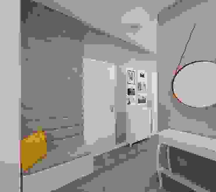 Stonowane mieszkanie 45m2 w Dąbrowie Górniczej Minimalistyczny korytarz, przedpokój i schody od Ale design Grzegorz Grzywacz Minimalistyczny