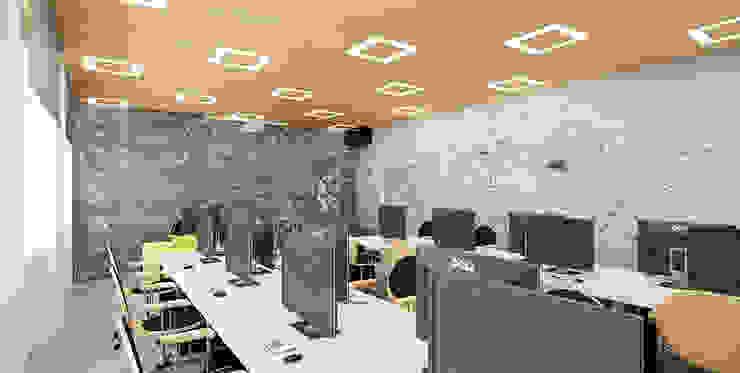 Sala zajęć w betonie Minimalistyczny pokój multimedialny od Ale design Grzegorz Grzywacz Minimalistyczny